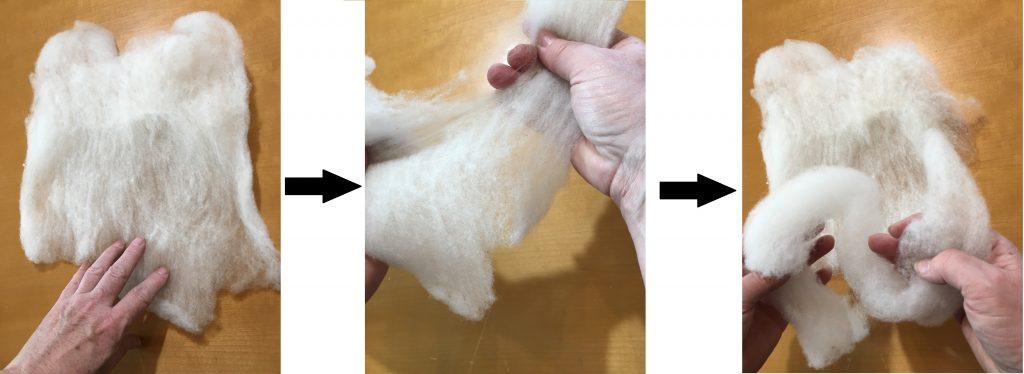 unroll batts for easier spinning